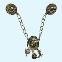Western Lapel Pin With Dangling Charms