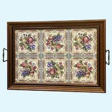 Staffordshire England Tilecrafts Tea Tray Porcelain Fruit Tile