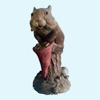 Tim Wolfe Chipmunk Sculpture Bartholomewwith Lawn Gnome Hat #9028 Cairn Studio 1992 Vintage Figurine
