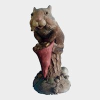 Tim Wolfe Chipmunk Sculpture Bartholomew with Lawn Gnome Hat #9028 Cairn Studio 1992 Vintage Figurine