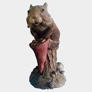 Tim Wolfe Chipmunk Sculpture Bartholomewwith Gnome Hat #9028 Cairn Studio 1992 Vintage Figurine