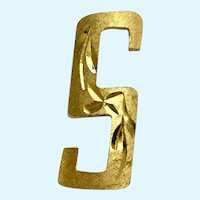 Gold-Tone Block Letter S Brooch Pin Memselle
