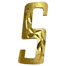 Gold-Tone Block Letter S Brooch Pin Memselle