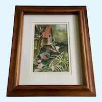 Backyard Birdhouse In Flower Garden Watercolor painting