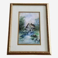 H.M. Kunz, Water Wheel Mill 1914 Watercolor Painting Signed By Artist