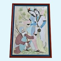 C Ness, India Watercolor Painting Mughal Couple