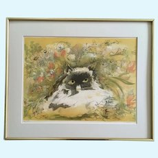 Cat in Flower Garden Signed Limited Edition Print