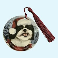 Tamara Burnett Shih Tuz Dog Christmas Ornament Porcelain 2012