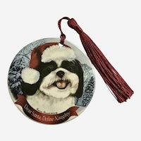 Tamara Burnett Shih Tuz Dog Christmas Ornament Porcelain 2012