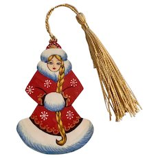 Hand Painted Wood Russian Girl Christmas Ornament