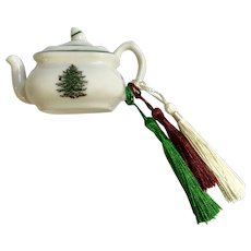 Spode Miniature Christmas Tree Teapot Ornament Upgraded Tassels