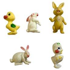 Easter 1950's Hong Kong Hard Plastic Bunny Rabbit & Chick Figures