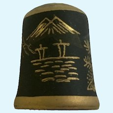 Vintage Mount Fuji Black & Gold Colored Ceramic Thimble