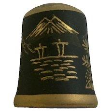 Vintage Mount Fuji Black & Gold Colored Ceramic Thimble