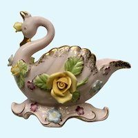 Pink Swan Vase With Yellow, Blue and Purple Flowers Japan