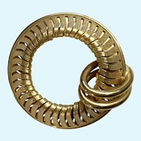 Vintage Circle With Loops Gold-Tone Brooch Pin