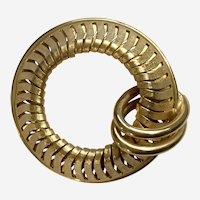 Vintage Circle With Loops Gold-Tone Brooch Pin