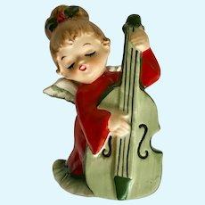 Mid-Century Lefton Christmas Angel Playing Cello Figurine Japan
