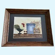 Rooster Folk Art Still Life Acrylic Painting