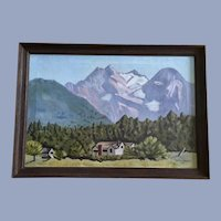M Provost Pastel Mountains Landscape Oil Painting