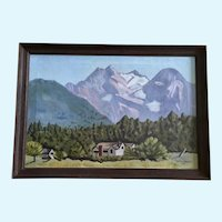 M Provost Pastel Mountains Landscape Oil Painting