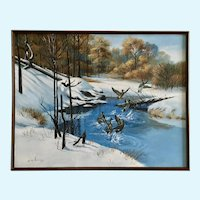 H K Kang, Ducks in the Snow Oil Painting