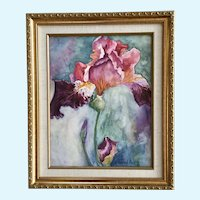 Sandy K Meyer, Iris Flower Watercolor Painting