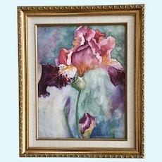 Sandy K Meyer, Iris Flower Watercolor Painting
