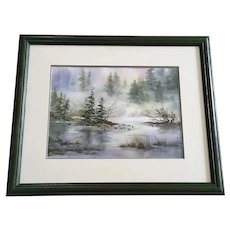 Dottie Michie, Ducks on Pond Landscape Watercolor Painting