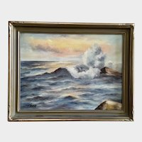 Thea, Waves on Rocks Seascape Oil Painting Circa 1920's