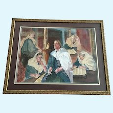 Reveille Kennedy, Woman Studying Bible Scriptures Jewish Watercolor Painting