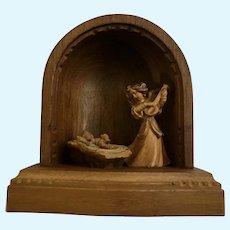 Nativity Folk Art Angel Serenading Baby Jesus Wood Carving Figure