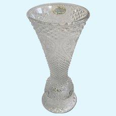 Avon Fostoria Glass Vase & Candle Holder Heart Diamond Pattern