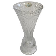 Avon Fostoria Glass Vase & Candle Holder Heart Diamond Pattern