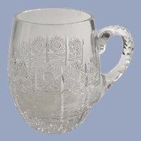 PB Hand Cut Crystal Beer Glass Bohemie Czech Republic