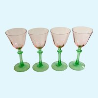 Depression Glass Pink with Green Stems Watermelon Glasses