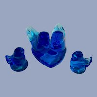 Blue Birds of Happiness Glass Birds Heart Shaped Signed