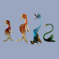 Mid-Century Murano Glass Duck & Swan Bird Figurines