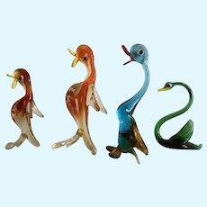 Mid-Century Murano Glass Duck & Swan Bird Figurines