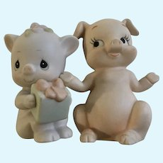 Precious Oinky Birthday Pig and Friend Bisque Figurine Group