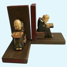Vintage Black Forest Monk Folk Art Bookends Carved Wood Germany