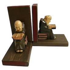 Vintage Black Forest Monk Folk Art Bookends Carved Wood Germany