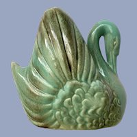 Gonder Swan Vase Turquoise & Brown USA Pottery E-44