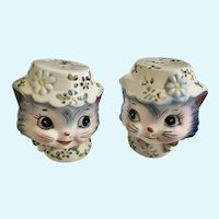 Lefton Miss Priss Blue Kitty Cat Salt & Pepper Shakers Japan #1511