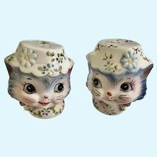 Lefton Miss Priss Blue Kitty Cat Salt & Pepper Shakers Japan #1511