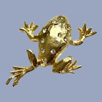 Gold-tone Faux Diamond Frog Pin Brooch