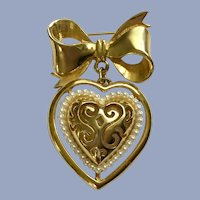 Gold-Tone Faux Pearl Heart & Bow Pin Brooch