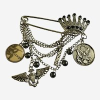 Large Safety Pin with Military Army Emblem Charms and Crown