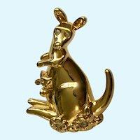 Avon Joey Kangaroo Gold-tone Faux Diamond Lapel Pin 1992