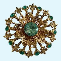 Aquamarine Colored Rhinestone Round Gold-tone Pin Brooch